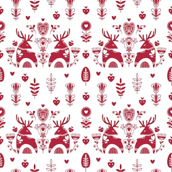 Abstract folk seamless pattern with hearts and deers