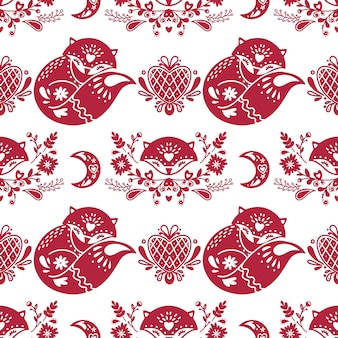 Abstract folk seamless pattern with hearts and foxes
