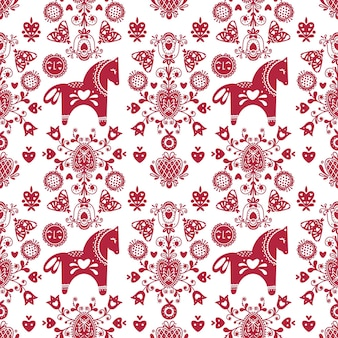 Abstract folk seamless pattern with hearts and horses
