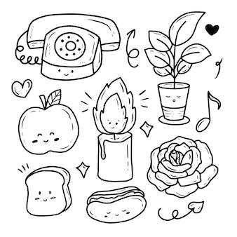 抽象的な食べ物と花のアイコンコレクションセットステッカー