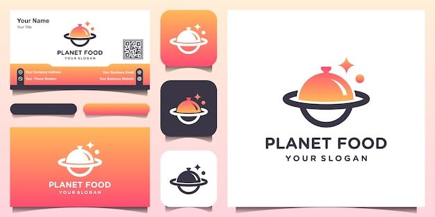 Abstract food planet logo design template and business card