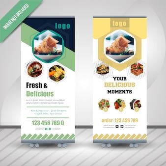 レストランのための抽象的なフードロールアップ