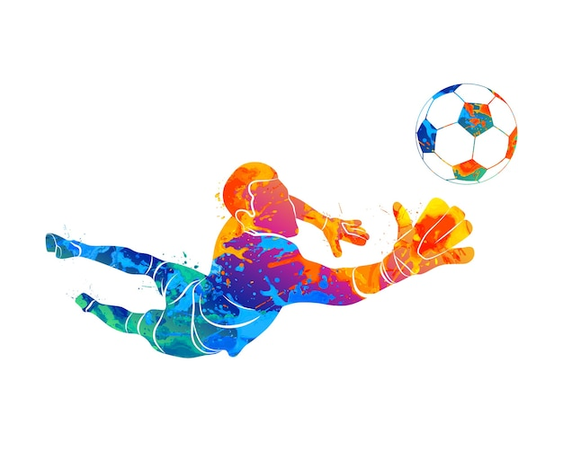 Abstract football goalkeeper is jumping for the ball soccer from a splash of watercolors.  illustration of paints.