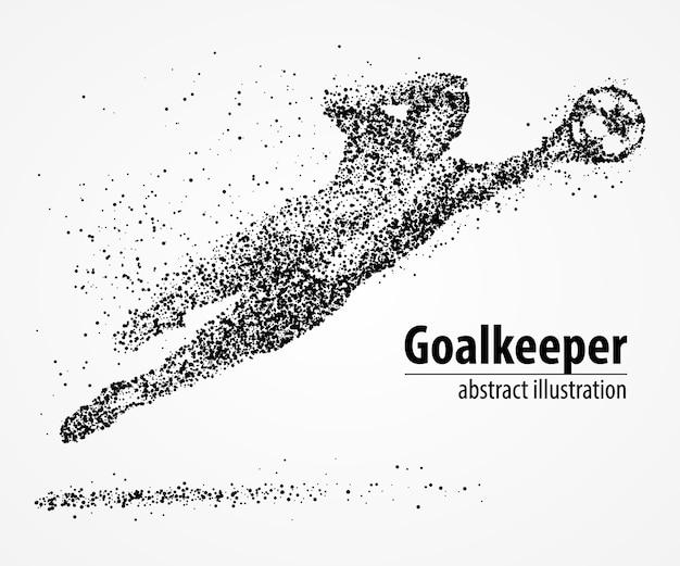 Abstract football goalkeeper jumping in black circles.  illustration.