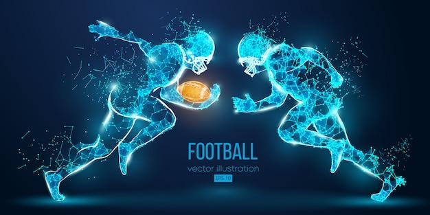 Абстрактный футболист из частиц, линий и треугольников на синем фоне. регби. американский футболист все элементы расположены на отдельных слоях, цвет можно изменить на любой другой в один клик. вектор