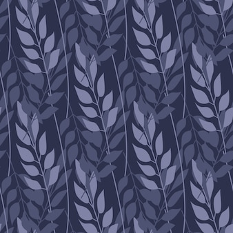 Abstract forest grass and branch seamless pattern