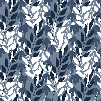 Abstract forest leaves and grass seamless pattern.