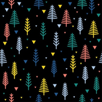 Abstract forest seamless pattern background. childish simple hand drawn cover for design card, wallpaper, album, scrapbook, holiday wrapping paper, textile fabric, bag print, t shirt etc.