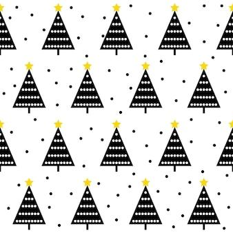 抽象的な森のシームレスなパターンの背景。デザインクリスマスカード、新年の壁紙、ホリデーラッピングペーパー、テキスタイル、バッグプリント、おむつ、おむつ、tシャツなどの子供っぽいシンプルな手描きのカバー。