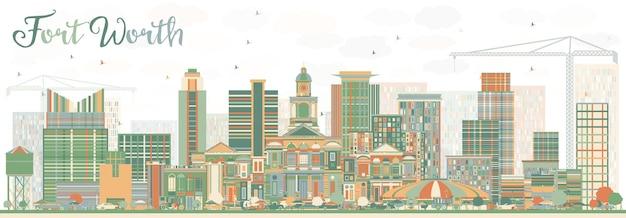 色の建物と抽象的なフォートワースのスカイライン。ベクトルイラスト。近代建築とビジネス旅行と観光の概念。プレゼンテーションバナープラカードとwebサイトの画像。