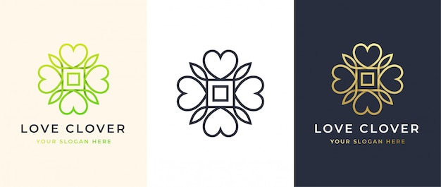 Abstract four leaf love clover logo design