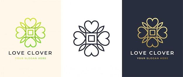 Abstract four leaf love clover logo design
