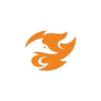Abstract fox head in negative space and fire icon logo design