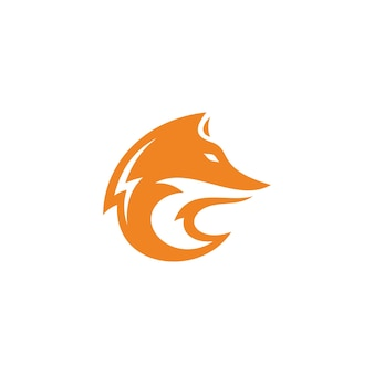 Abstract fox or wolf head face silhouette icon logo concept