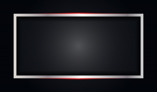 Abstract frame black metallic background with red shiny line
