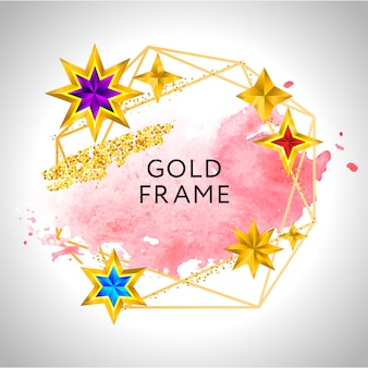 ピンクの水彩の金色の星とテキストの場所と抽象的なフレームのお祝いの背景