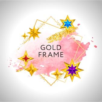 ピンクの水彩の金色の星とテキストの場所と抽象的なフレームのお祝いの背景。