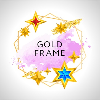 Abstract frame celebration background with pink watercolor golden stars and place for text.