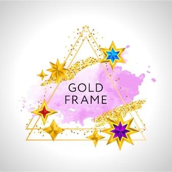 ピンクの水彩スプラッシュと金色の星と抽象的なフレームのお祝い