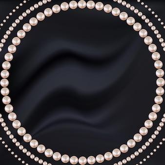 黒のシルクにピンクの真珠の抽象的なフレーム