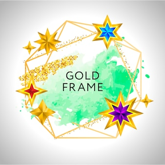 ピンクの水彩の金色の星とテキストの場所と抽象的なフレームベクトルお祝いの背景。