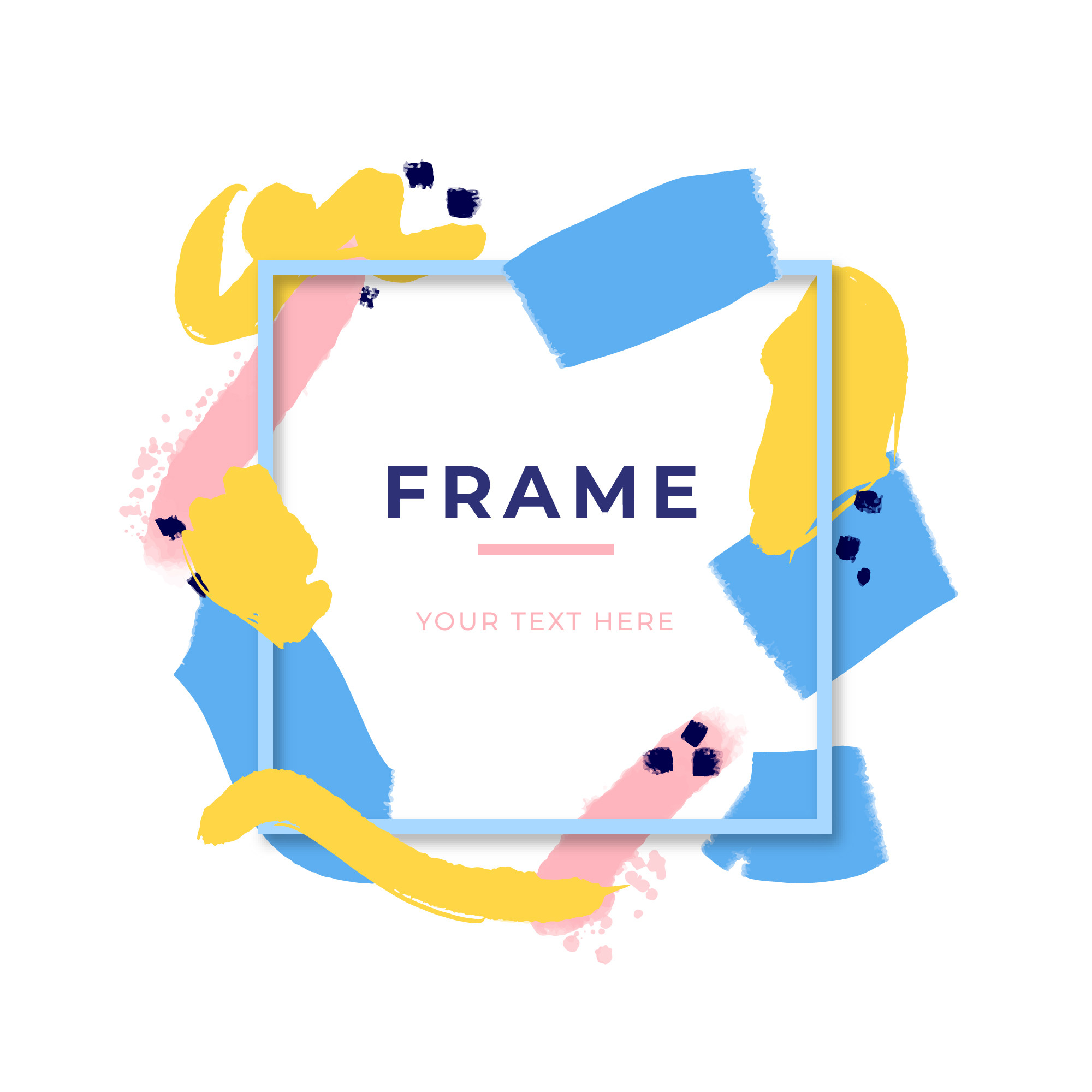 Abstract frame with colour brush strokes