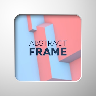 Abstract frame with rose quartz and serenity cubes