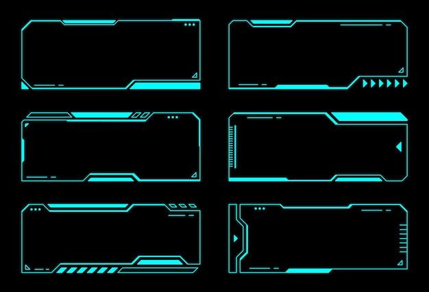 Абстрактные рамки технологии футуристический интерфейс hud векторный дизайн Premium векторы