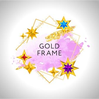 추상 framewith 핑크 수채화 스플래시와 황금 별