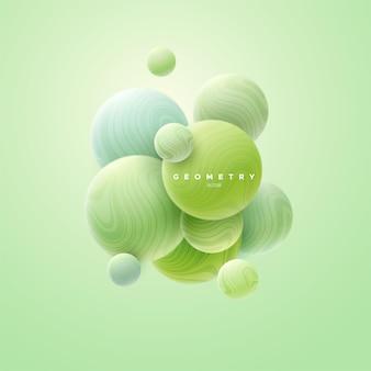 Абстрактный свежий фон с мятно-зелеными плавными сферами кластера текстурированными с волнистым полосатым узором