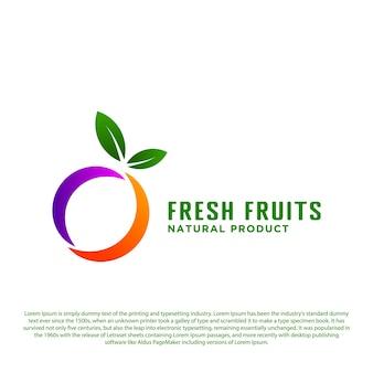 抽象的な新鮮な果物のロゴ最初のoベクトルイラストとサークルフルーツデザイン