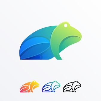 Abstract frog full color illustration design vector template