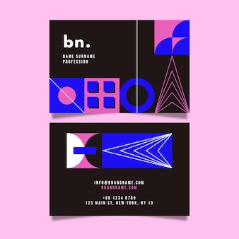 Abstract front and back business card template