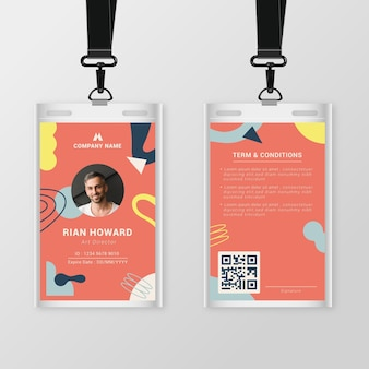 Abstract front and back vertical id card template with photo