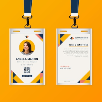 Abstract front and back vertical id card template
