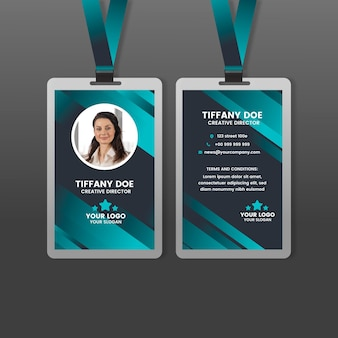 Abstract front and back vertical id card with photo