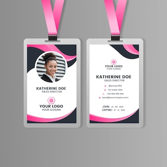 Abstract front and back vertical id card
