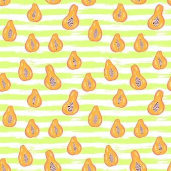 Abstract fruit pattern with papaya on grunge stripes background. tropical seamless pattern with papaya in hand drawn simple style. bright color in vector illustration. ornament for textile, wrapping.
