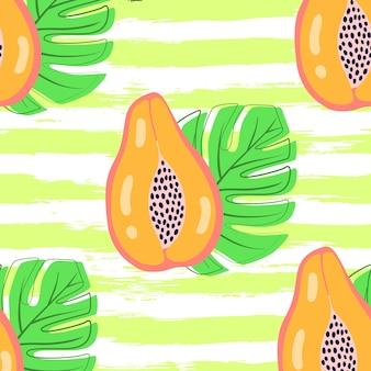 パパイヤと抽象的なフルーツパターン。パパイヤとグランジストライプの背景の葉と熱帯のシームレスなパターン。手描きスタイルのベクトルイラスト。テキスタイルやラッピング用の装飾品。