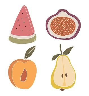 抽象的なフルーツセットイラスト