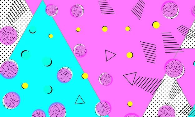 Абстрактный фон весело. детский узор. розово-голубые цвета. хипстерский стиль 80-90-х годов. обалденный абстрактный узор. геометрические элементы.