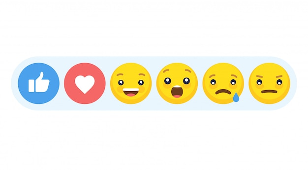 Abstract funny flat style emoji emoticon reactions color icon set.