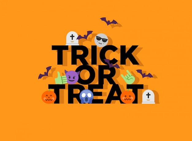 Abstract funny flat style halloween trick or treat emoji