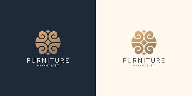 抽象的な家具のロゴのデザインstyle.interior、モノグラム、家具、インスピレーションのデザインテンプレート。