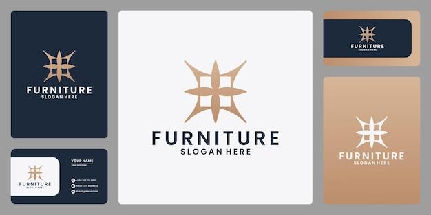 抽象的な家具のロゴデザインシンボル。名刺付き、金色