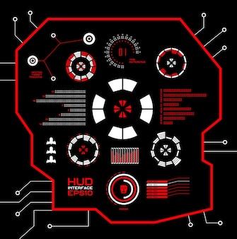 추상적인 미래, 개념 벡터 미래형 파란색 가상 그래픽 터치 사용자 인터페이스 hud. 웹, 사이트, 검은 배경, 테크노, 온라인 디자인, 비즈니스, gui, ui에 격리된 모바일 응용 프로그램의 경우.