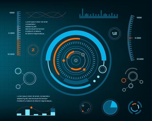 抽象的な未来、概念ベクトル未来的な青の仮想グラフィックタッチユーザインタフェースhud。 web、サイト、黒い背景、テクノ、オンラインデザイン、ビジネス、gui、uiで分離されたモバイルアプリケーション。