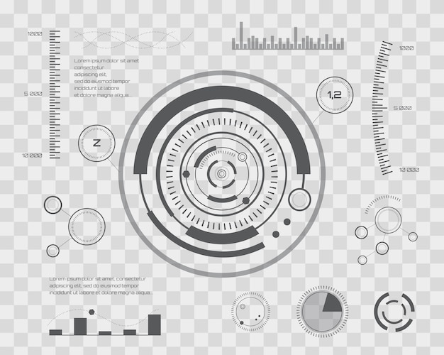 抽象的な未来、概念ベクトル未来的な青仮想グラフィックタッチユーザインタフェースhud。 web、サイト、モバイルアプリケーション用。透明なチェッカーで隔離されたベクトル図。
