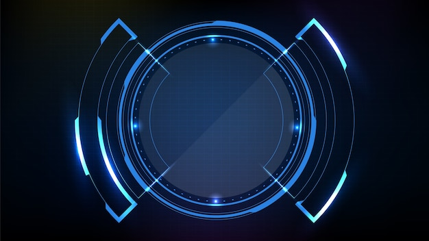 Abstract futuristic background of blue circle round glowing technology sci fi frame hud ui