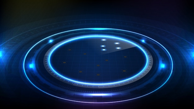 Abstract futuristic background of blue circle round glowing technology sci fi frame. hud ui
